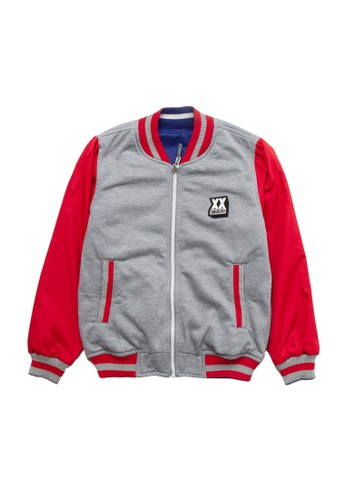 SHARKS red and blue and grey Reversible Bomber Jacket 69C69KA939D1AFGS_1