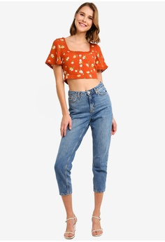 4733e1c3623142 Miss Selfridge Petite Rust Button Tie Back Top RM 119.00. Available in  several sizes