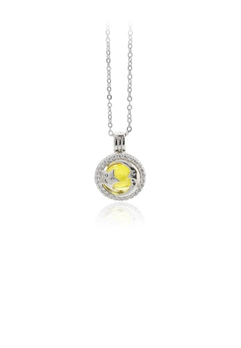 Glamorousky yellow 925 Sterling Silver Fashion Simple Star and Moon Round Yellow Round Bead Pendant with Cubic Zirconia and Necklace 405BDAC8FFFFBAGS_1