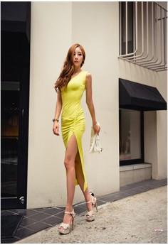 Women's O-Neck Solid Mid-Calf Dress