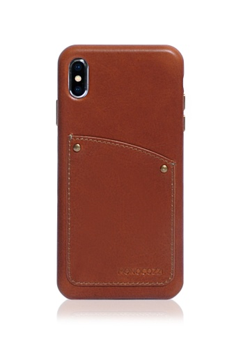 Monocozzi brown Exquisite - Vintage Leather Hard Shell Case for iPhone XS Max - Tan F475AAC09B410DGS_1