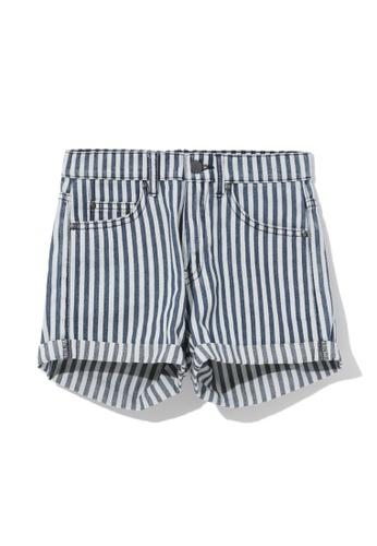 izzue navy Striped denim shorts 72815AAD0BA1E3GS_1