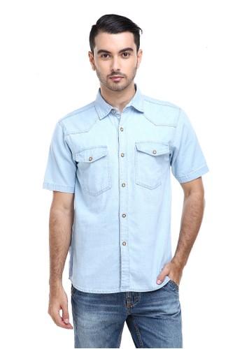 Hamlin blue Hamlin Dwan Shirt Kemeja Pria Kasual Lengan Pendek Material Jeans Premium ORIGINAL 2ED7BAAB2D5301GS_1