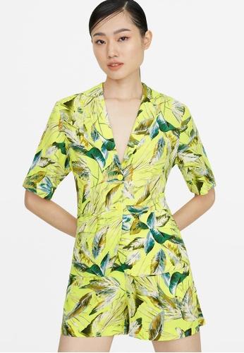 Pomelo yellow Leaf Print Blazer - Yellow 3909BAA775C429GS_1