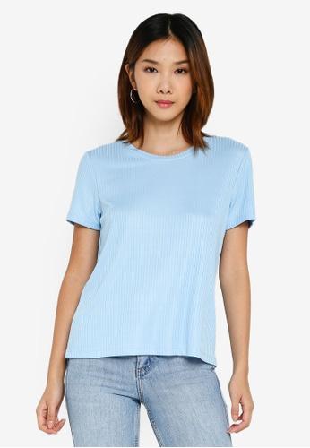 Pieces 藍色 羅紋T恤 88809AAB39EBE8GS_1