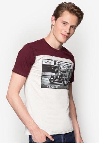 重機圖案撞色拼肩T 恤esprit高雄門市, 服飾, 印圖T恤