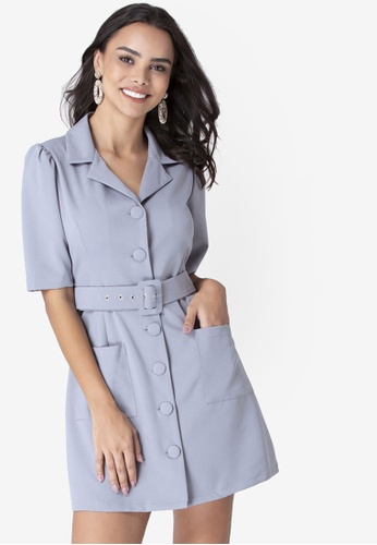 FabAlley grey Collared Belted Shirt Dress 46EE4AACAA1836GS_1