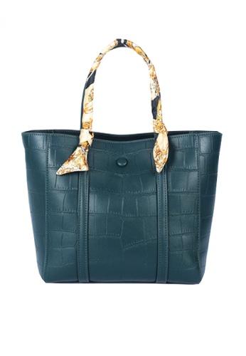 Twenty Eight Shoes blue VANSA Fashion Crocodile Leather Tote Bag VBW-Tb2881 E7E0DAC417625DGS_1