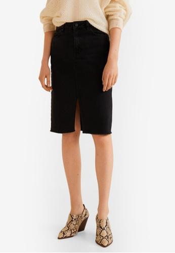 Mango grey Slit Denim Skirt AF77BAA662907FGS_1