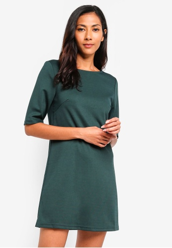 ZALORA BASICS green Basic Elbow Sleeves Shift Dress 9297DAACAA2A32GS_1