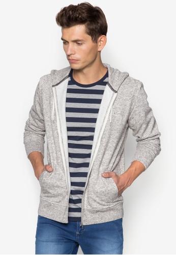 Burton Menswear London 灰色 混紡連帽拉鍊外套 BU838AA04JZRSG_1