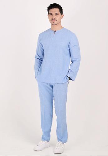 VELRIA blue PADUKA Baju Melayu Teluk Belanga B0050AAF9B6D25GS_1