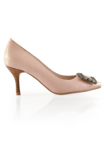 Gripz pink Gemheel Pointed Crystal Frame Heels GR357SH17AQCSG_1