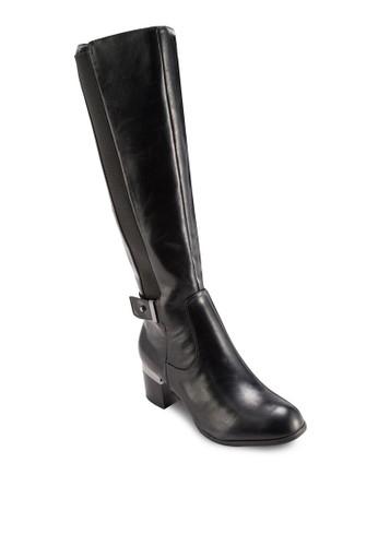 側彈性帶粗跟高zalora 台灣門市筒靴, 女鞋, 鞋