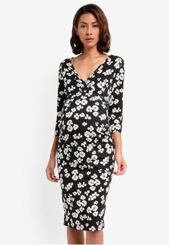 Dorothy Perkins black Maternity Floral Print Wrap Dress 26546AAFA4A33CGS_1