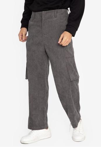 ZALORA BASICS green Corduroy Trousers 0F756AAD92BE2CGS_1