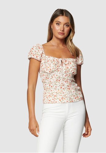Forever New multi Amanda Sweetheart Petite Tie Front Top 9A876AA0F68419GS_1