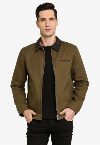 French Connection green Utility Cotton Canvas Zip Jacket BE025AAECB7B0CGS_1