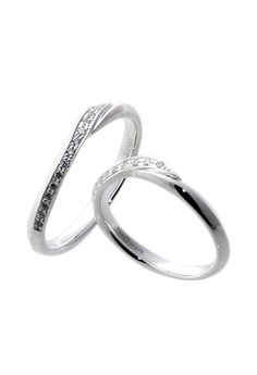 Twist Silver Couple Ring with Artificial Diamonds lr0020