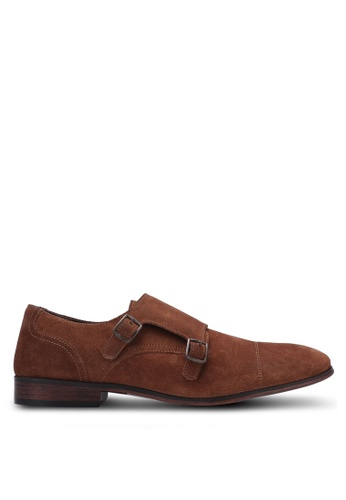 Topman brown Tan Suede Monk Shoes TO413SH0S7YIMY_1