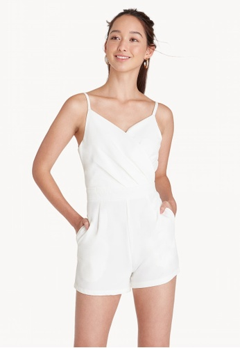 b150bc0be428 Buy Pomelo V Neck Wrap Accent Romper - White Online on ZALORA Singapore