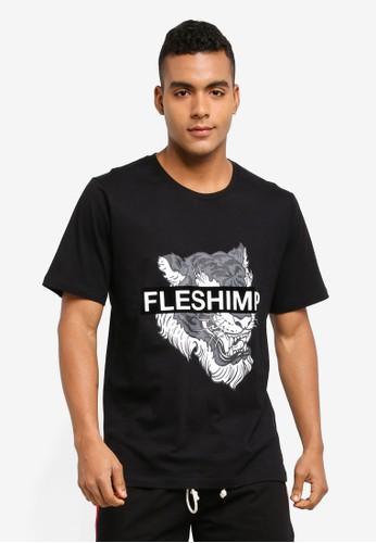 Flesh IMP black Caspian Felt Print T-Shirt 9DC1FAA53E4D20GS_1