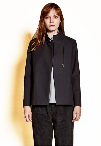 The K Story black Standing Collar Jacket 1C9EAAAFFCF8DCGS_1