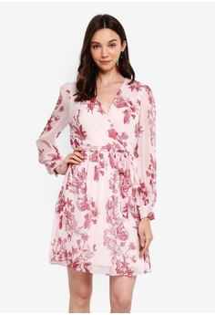 e9c1ad69090ac Dorothy Perkins pink Blush Floral Chiffon Wrap Fit and Flare Dress  A761BAA174867DGS_1