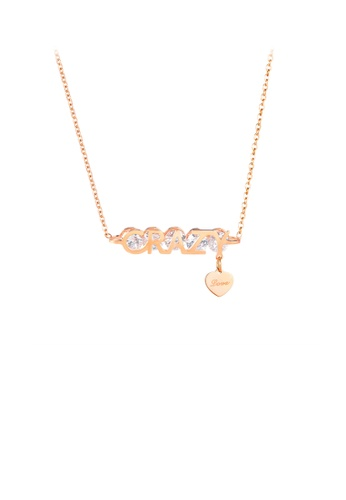 Glamorousky white Fashion Personality Plated Rose Gold Crazy Heart 316L Stainless Steel Necklace with Cubic Zirconia 1B362AC84B5235GS_1