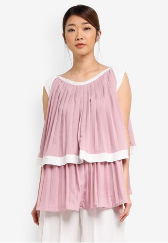 KLEEaisons pink Boat Neck Cap Sleeve Tiered Pleated Blouse KL492AA0SSI7MY_1