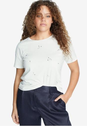 Violeta by MANGO white Plus Size Rhinestone T-Shirt 1C596AAC2A1D5FGS_1
