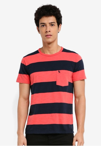 Abercrombie & Fitch pink Short Sleeve Stripe T-Shirt E8941AAB6256E4GS_1