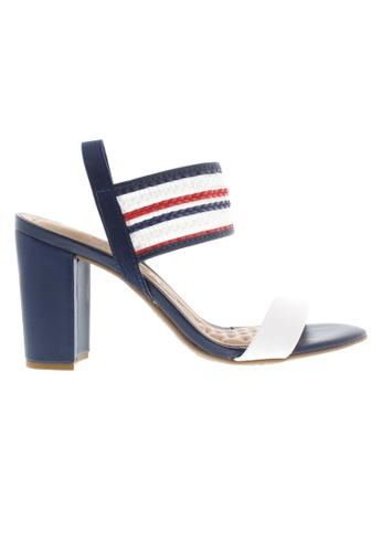 Beira Rio white and red and navy Strap Block Heeled Sandal BE995SH68ZUPHK_1