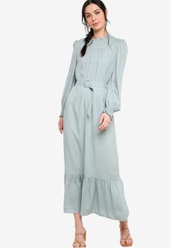 Zalia green Ruffle Dress Made From TENCEL™ BC1CBAA42B0949GS_1