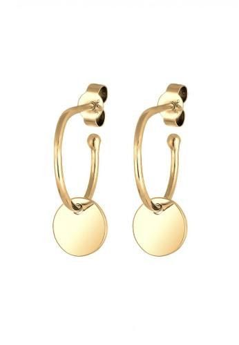 Elli Germany gold Perhiasan Wanita Perak Asli - Silver Anting Circle Pendant Hoops Emas Emas 3E0FFAC463A49FGS_1
