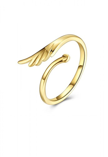 Glamorousky silver Simple and Fashion Plated Gold Wings Adjustable Ring A7D13AC722CF7DGS_1