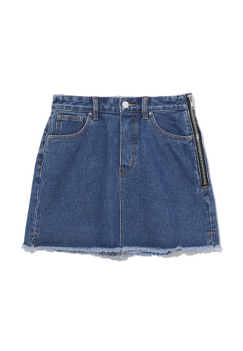 b+ab blue Side-zip denim mini skirt 08C23AA8407709GS_1