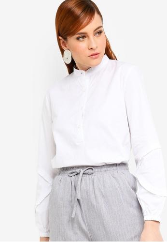 Zalia white Frill Sleeves Shirt 2B148AA3E083EEGS_1