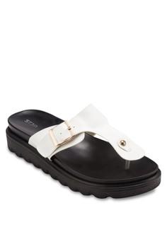 【ZALORA】 扣環夾腳厚底涼鞋