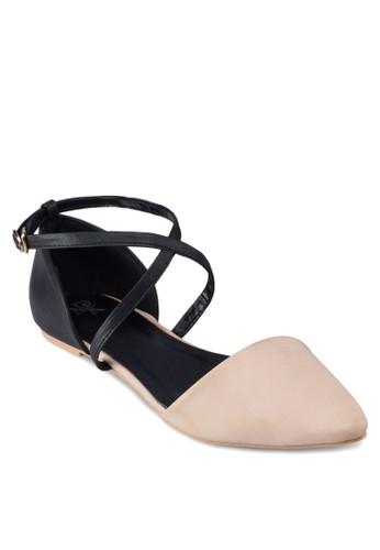 撞色尖頭平底涼鞋, 女esprit 台中鞋, 鞋