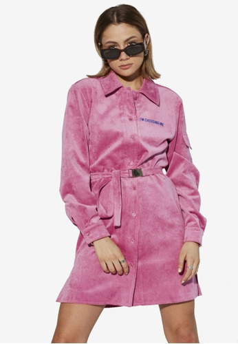 Local Heroes pink Choosing Me Corduroy Dress C750FAA81B656FGS_1