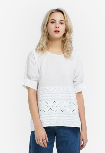 Hopeshow white Aztec Lace Blouse 46531AAF60841CGS_1