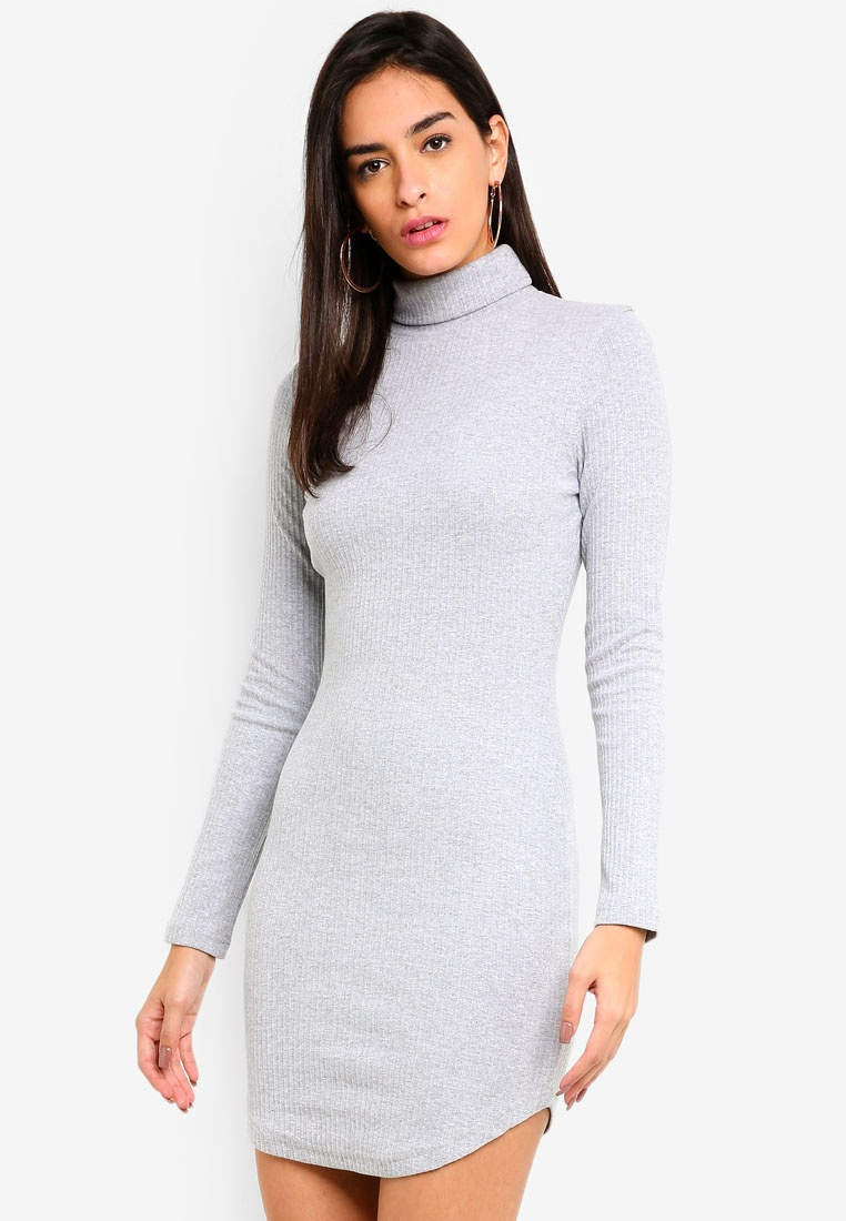 0ad5e0cbdc MISSGUIDED Roll Neck Grey Bodycon Sleeve Long Ribbed Dress YgxCqTfEw ...