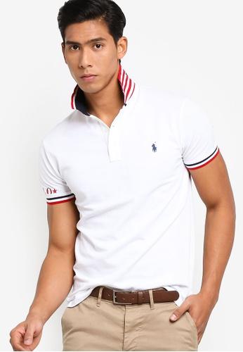 Fit Contrast Trim Stripe Slim Polo Shirt mvwNn0Oy8