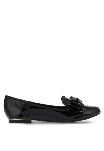 Velvet black Patent Bow Loafer Flats F82CASH7128EB0GS_1