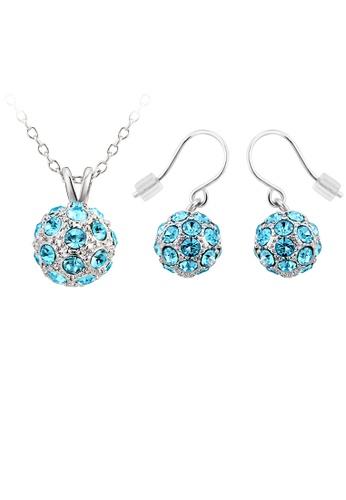 OUXI blue OUXI Happiness Necklace Earrings Set (Aquamarine) OU821AC34WONMY_1