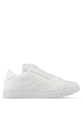 ZALORA white Raw Edge Frills Sneakers 0A11ESH61CA843GS_1