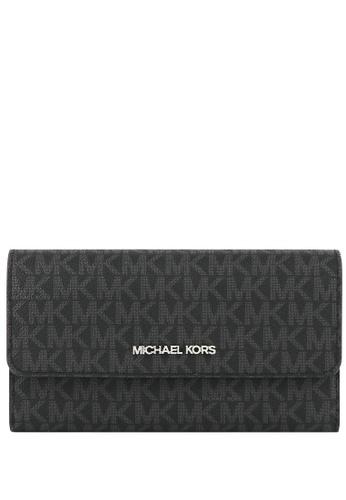 Michael Kors black Michael Kors Jet Set Travel Large Trifold Wallet In Signature - Black E66E4AC2931496GS_1
