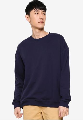 ZALORA BASICS navy Terry Oversized Sweatshirt 2B6D0AA646A09DGS_1