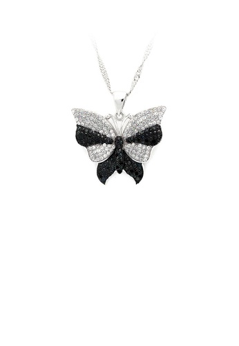 Glamorousky silver 925 Sterling Silver Butterfly Pendant with Black and White Cubic Zircon and Necklace DE93CAC868AC10GS_1